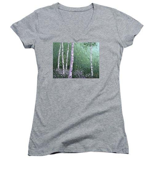 Summer Birch Trees Women's V-Neck (Athletic Fit)