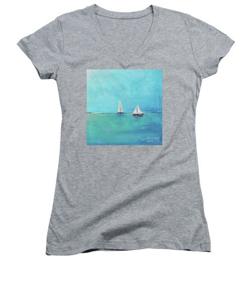 Women's V-Neck T-Shirt (Junior Cut) featuring the painting Summer Breeze-e by Jean Plout