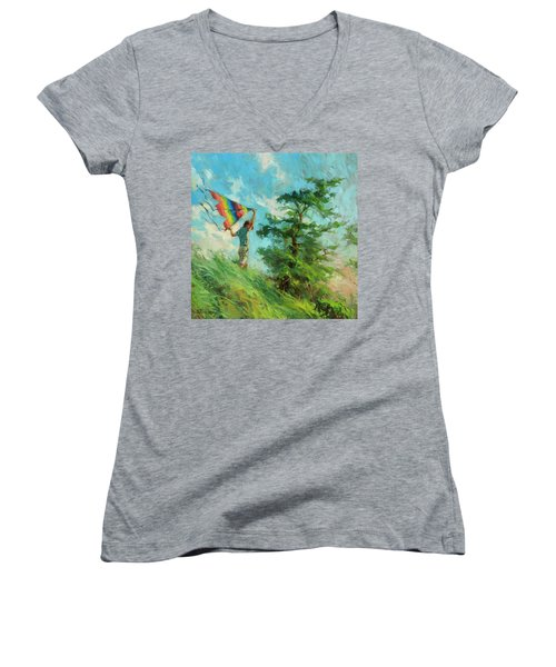 Women's V-Neck featuring the painting Summer Breeze by Steve Henderson