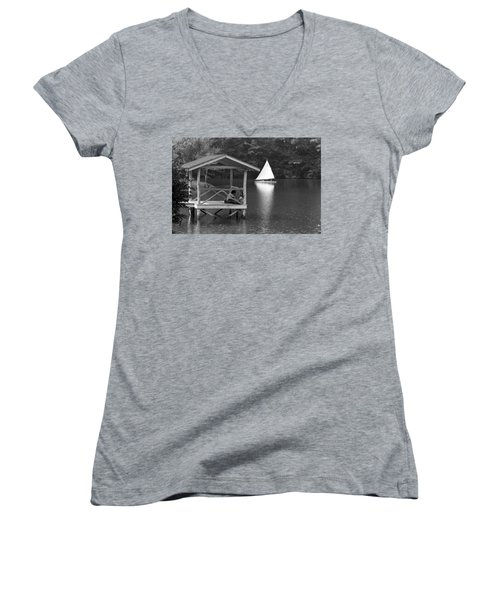 Summer Camp Black And White 1 Women's V-Neck T-Shirt (Junior Cut) by Michael Fryd
