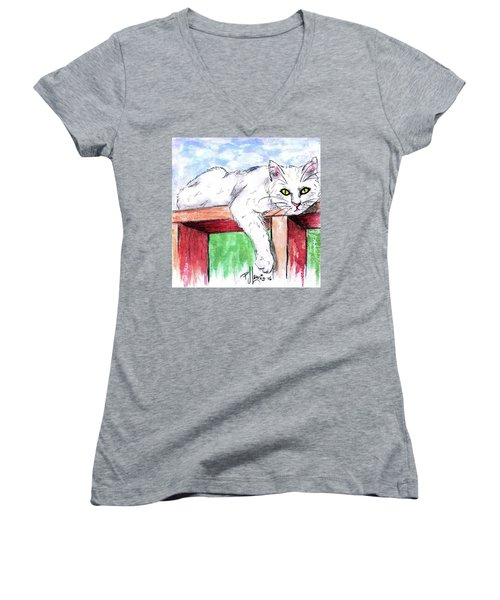 Women's V-Neck T-Shirt (Junior Cut) featuring the painting Summer Cat by P J Lewis