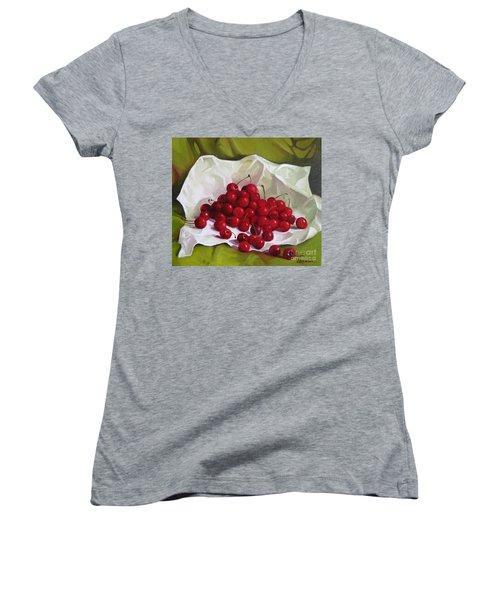 Summer Cherries Women's V-Neck T-Shirt
