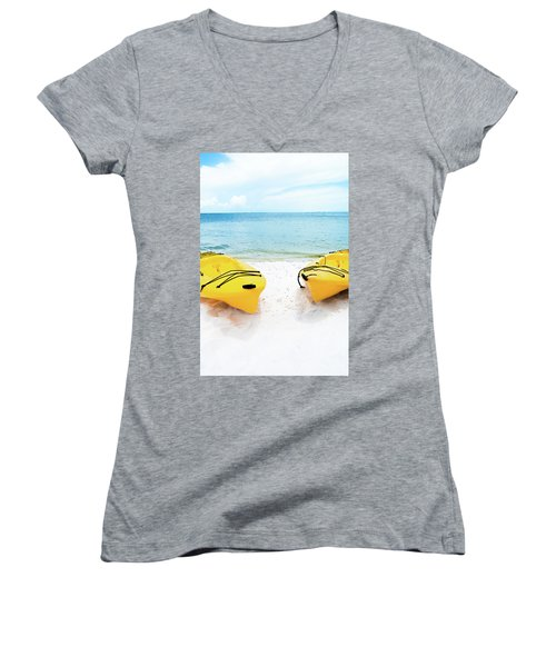 Women's V-Neck T-Shirt (Junior Cut) featuring the photograph Summer Colors On The Beach by Shelby Young