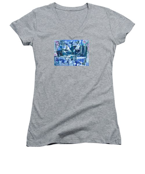 Women's V-Neck T-Shirt (Junior Cut) featuring the painting Summer Coming Down Final Version by Betty Pieper