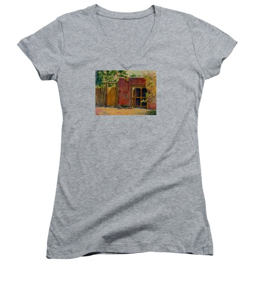 Summer Day In Santa Fe Women's V-Neck T-Shirt (Junior Cut) by Ann Peck