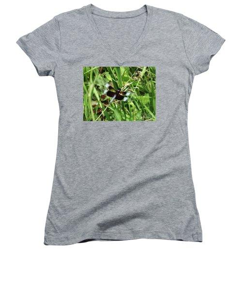 Women's V-Neck T-Shirt (Junior Cut) featuring the photograph  Summer Dragons by J L Zarek