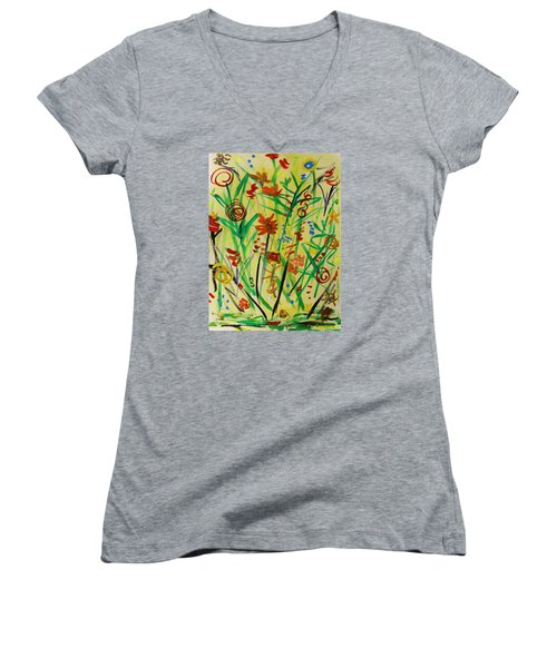 Summer Ends Women's V-Neck T-Shirt (Junior Cut) by Mary Carol Williams