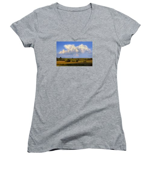 Summer Evening Formations Women's V-Neck T-Shirt (Junior Cut) by Bruce Morrison