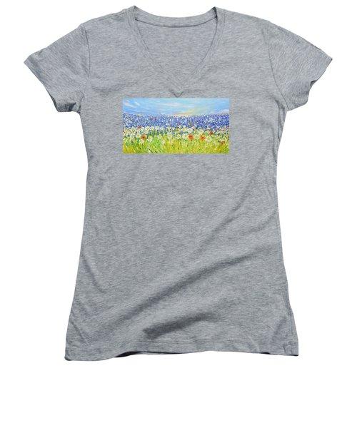 Summer Field Women's V-Neck T-Shirt