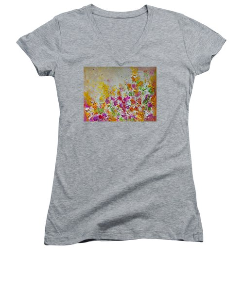 Summer Fragrance Abstract Painting Women's V-Neck