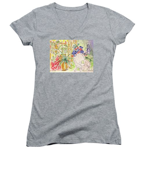 Summer Garden Women's V-Neck T-Shirt (Junior Cut) by Barbara Anna Knauf