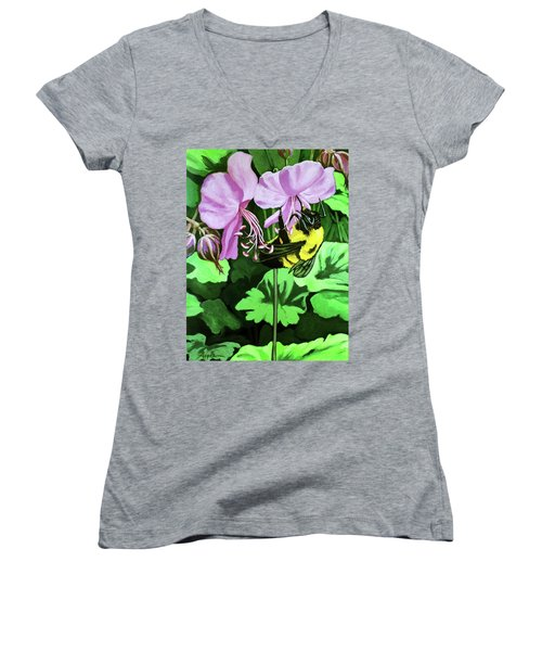 Women's V-Neck T-Shirt (Junior Cut) featuring the painting Summer Garden Bumblebee And Flowers Nature Painting by Linda Apple