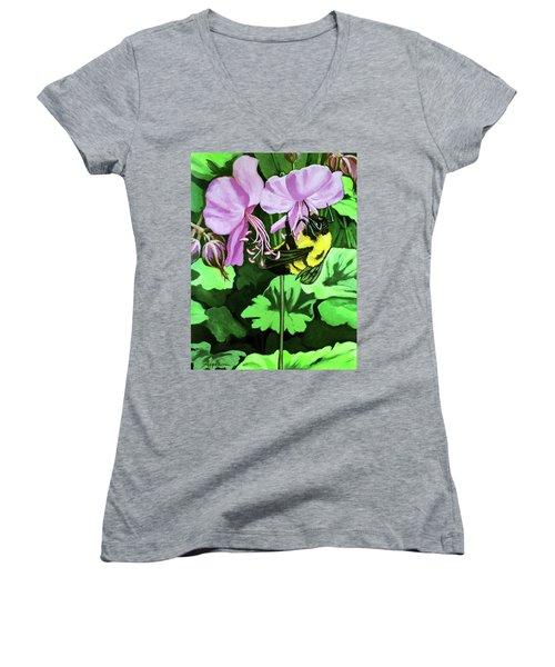 Summer Garden Bumblebee And Flowers Nature Painting Women's V-Neck T-Shirt (Junior Cut)