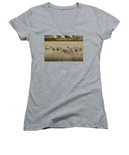 Summer Harvest Field With Hay Bales In Sepia Women's V-Neck T-Shirt