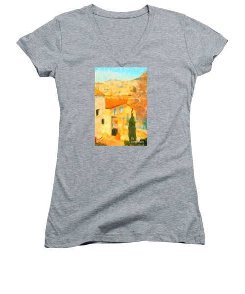 Women's V-Neck T-Shirt (Junior Cut) featuring the painting Summer In Athens by Chris Armytage