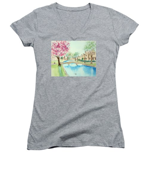 Women's V-Neck T-Shirt featuring the painting Summer In Bourton by Elizabeth Lock