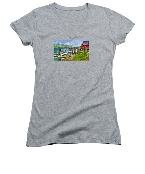 Summer In La'conner Women's V-Neck T-Shirt (Junior Cut) by Dale Stillman