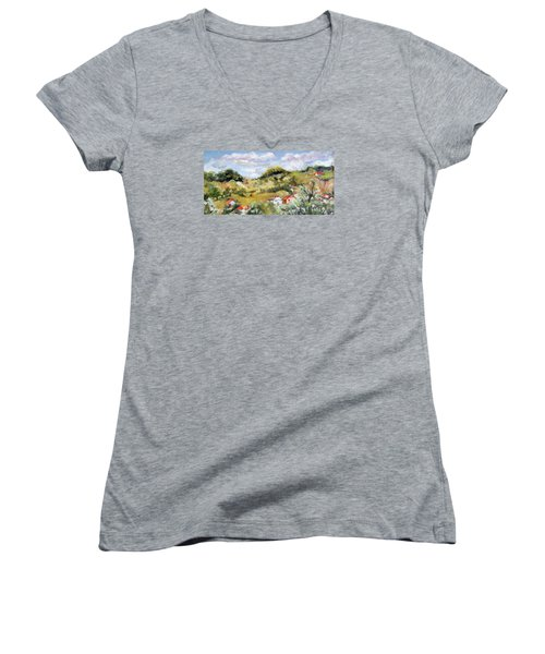 Summer Landscape Women's V-Neck T-Shirt (Junior Cut) by Vali Irina Ciobanu