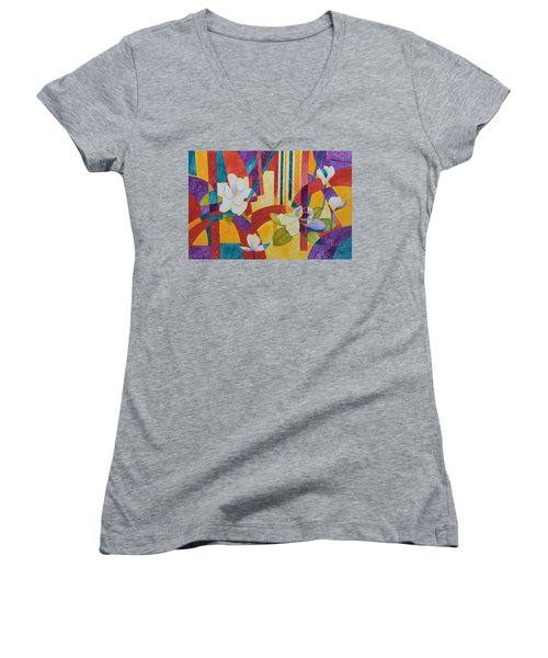 Women's V-Neck T-Shirt (Junior Cut) featuring the painting Summer Magnolias by Nancy Jolley