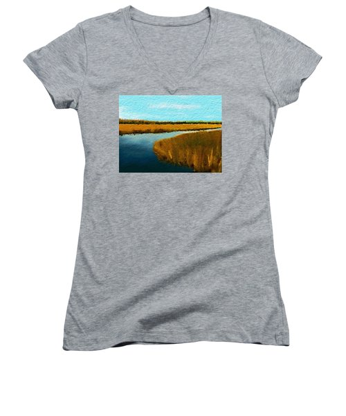Summer Marsh South Carolina Lowcountry Women's V-Neck T-Shirt (Junior Cut) by Anthony Fishburne