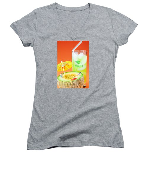 Women's V-Neck T-Shirt (Junior Cut) featuring the photograph Summer Memory Little People On Food by Paul Ge