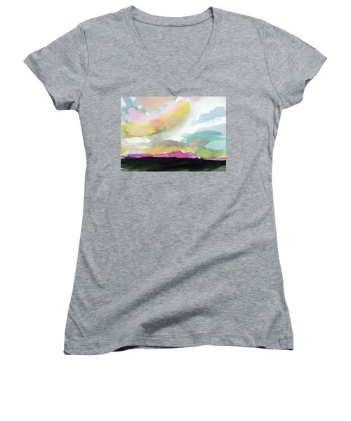 Women's V-Neck T-Shirt (Junior Cut) featuring the painting Summer Monsoon by Ed Heaton
