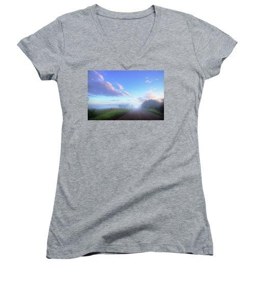 Women's V-Neck T-Shirt (Junior Cut) featuring the photograph Summer Morning In Alberta by Dan Jurak
