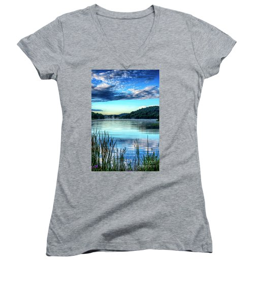 Summer Morning On The Lake Women's V-Neck T-Shirt (Junior Cut) by Thomas R Fletcher