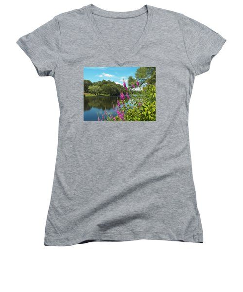 Summer On Kings Pond Women's V-Neck T-Shirt