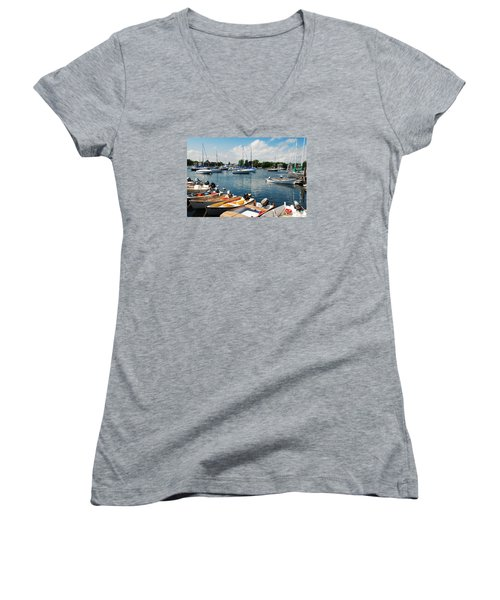 Summer On The Bay Women's V-Neck T-Shirt (Junior Cut) by James Kirkikis