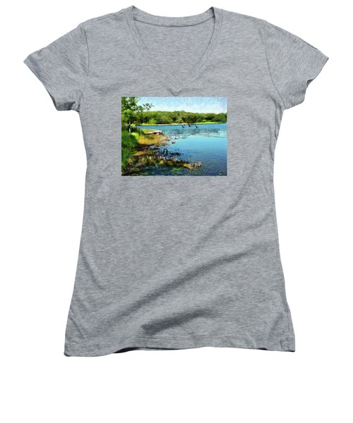 Summer On The Lake Women's V-Neck (Athletic Fit)