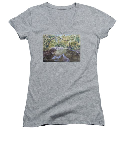 Women's V-Neck T-Shirt featuring the painting Summer On The South Tow River by Joel Deutsch