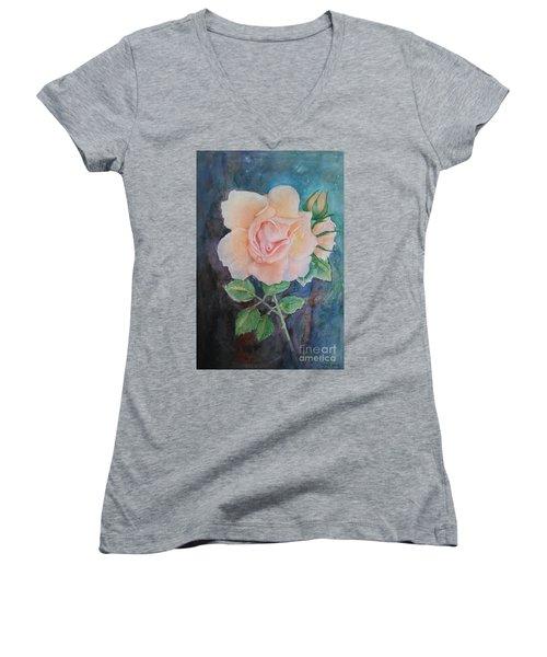 Summer Rose - Painting Women's V-Neck T-Shirt (Junior Cut) by Veronica Rickard