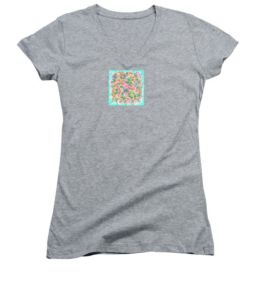 Women's V-Neck T-Shirt (Junior Cut) featuring the painting Summer Scarf by Jean Pacheco Ravinski
