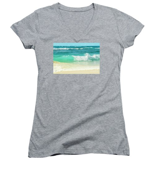 Women's V-Neck T-Shirt (Junior Cut) featuring the photograph Summer Sea by Sharon Mau