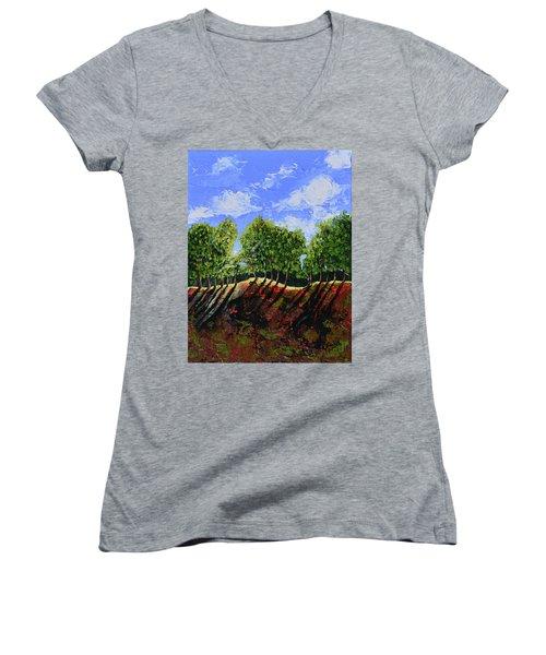 Summer Shadows Women's V-Neck T-Shirt (Junior Cut) by Donna Blackhall