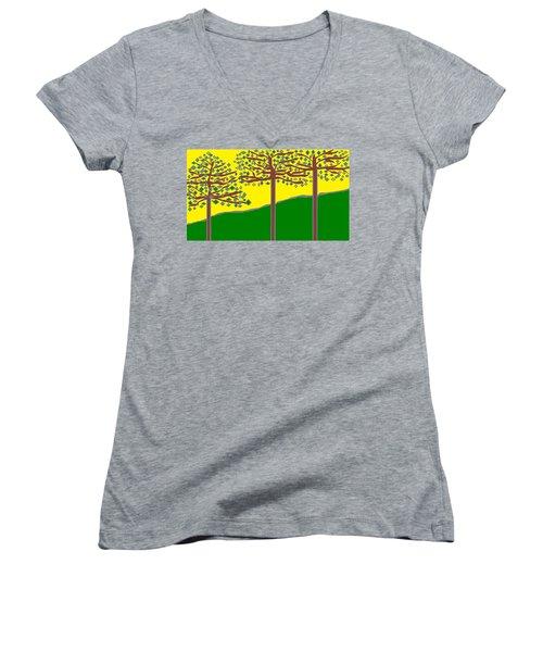 Summer Stained Glass 2 Women's V-Neck T-Shirt (Junior Cut) by Linda Velasquez