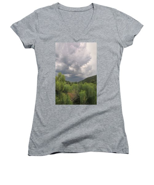 Women's V-Neck featuring the photograph Summer Storm by Ron Cline