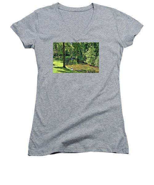 Women's V-Neck T-Shirt (Junior Cut) featuring the photograph Summer Stream by Cricket Hackmann