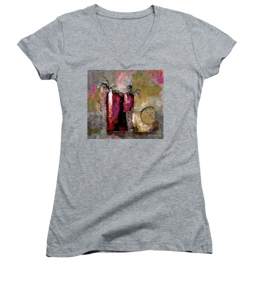 Summer Sunday Sangria With Lemon Water Infusion Painting Women's V-Neck T-Shirt