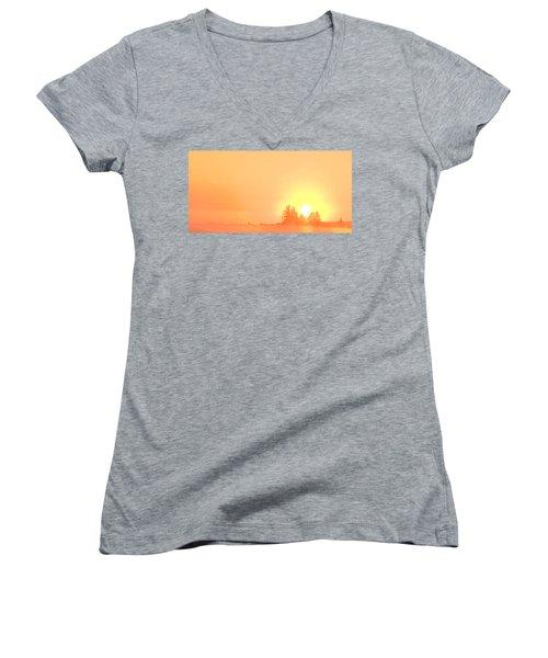 Summer Sunrise  Women's V-Neck (Athletic Fit)