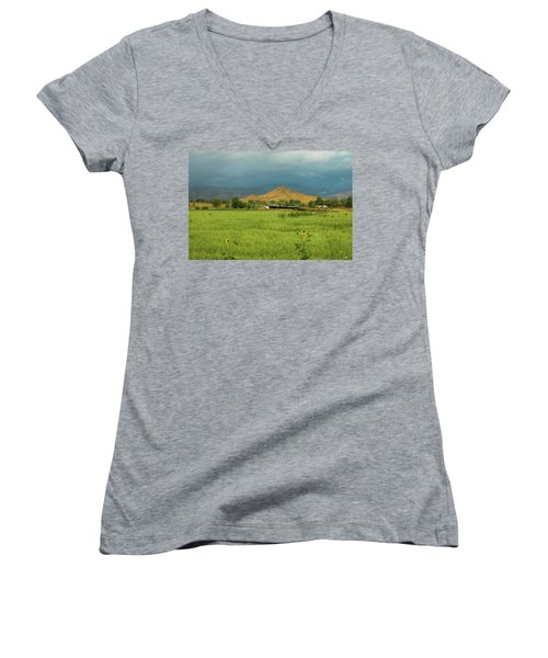 Women's V-Neck T-Shirt featuring the photograph Summer View Of  Hay Stack Mountain by James BO Insogna