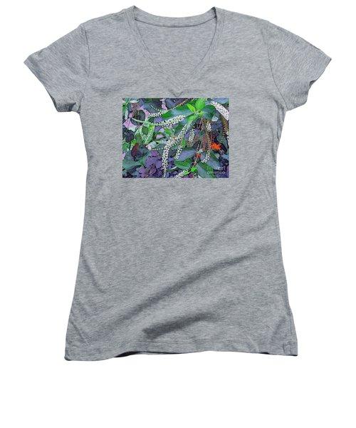 Summer White Women's V-Neck T-Shirt (Junior Cut) by Kathie Chicoine