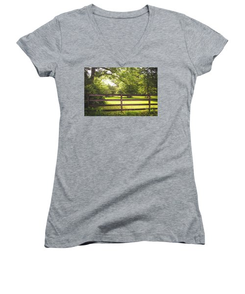 Women's V-Neck T-Shirt (Junior Cut) featuring the photograph Summertime Sunshine by Shelby Young