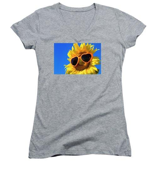 Summertime Women's V-Neck T-Shirt (Junior Cut) by Teri Virbickis