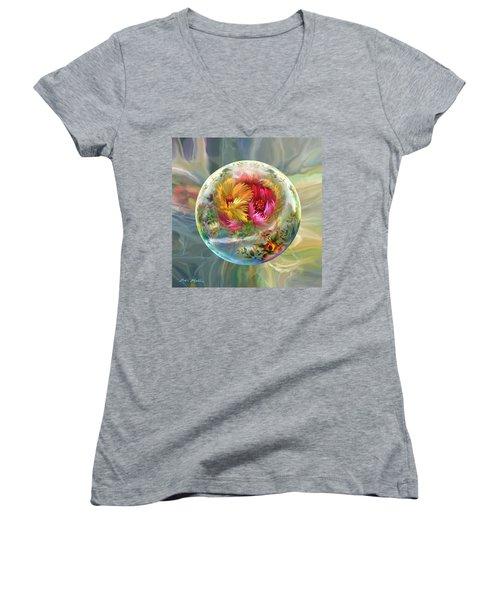 Women's V-Neck T-Shirt (Junior Cut) featuring the digital art Summer Daydream by Robin Moline
