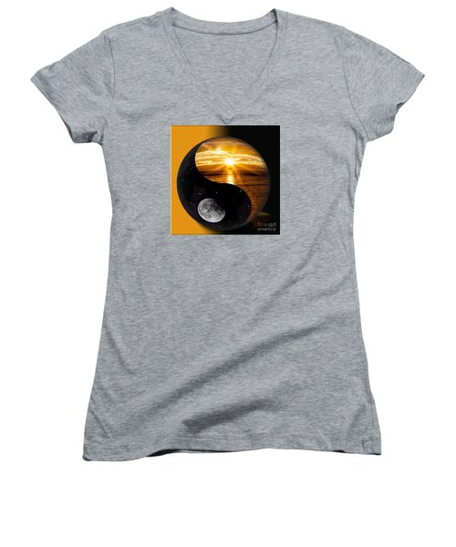 Women's V-Neck T-Shirt (Junior Cut) featuring the photograph Sun And Moon - Yin And Yang by Shirley Mangini