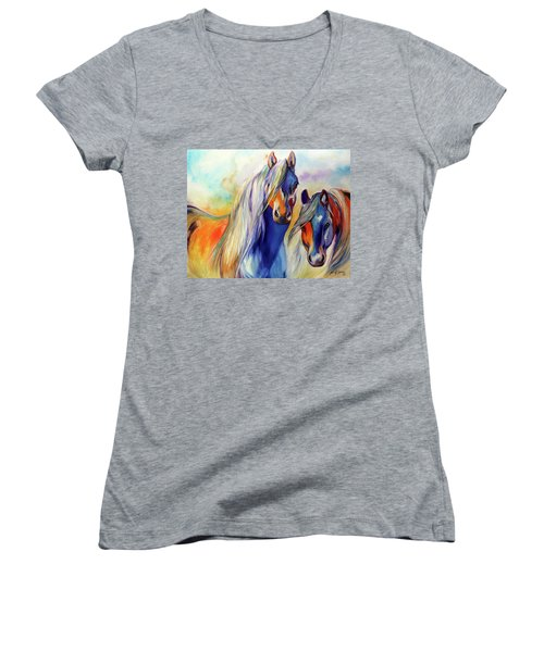 Sun And Shadow Equine Abstract Women's V-Neck T-Shirt