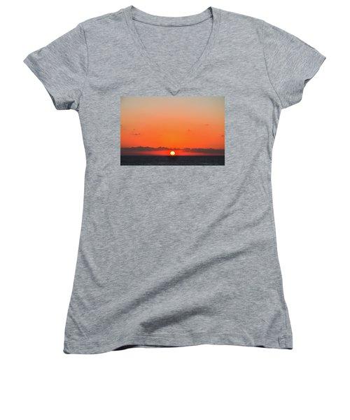 Sun Balancing On The Horizon Women's V-Neck T-Shirt