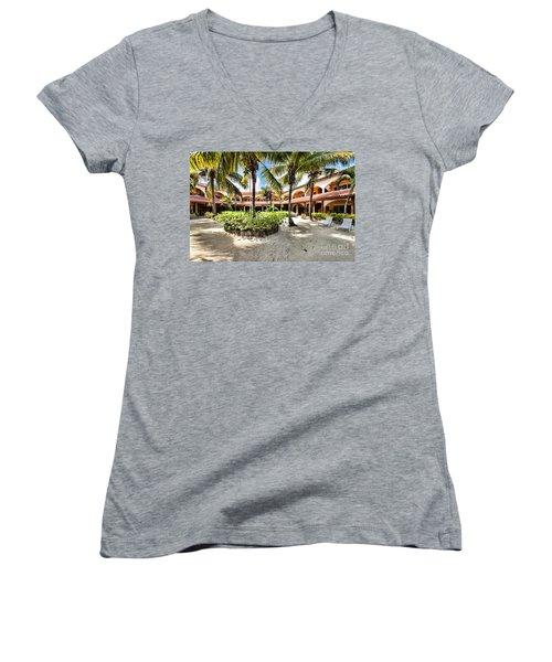 Women's V-Neck T-Shirt (Junior Cut) featuring the photograph Sun Breeze Hotel by Lawrence Burry
